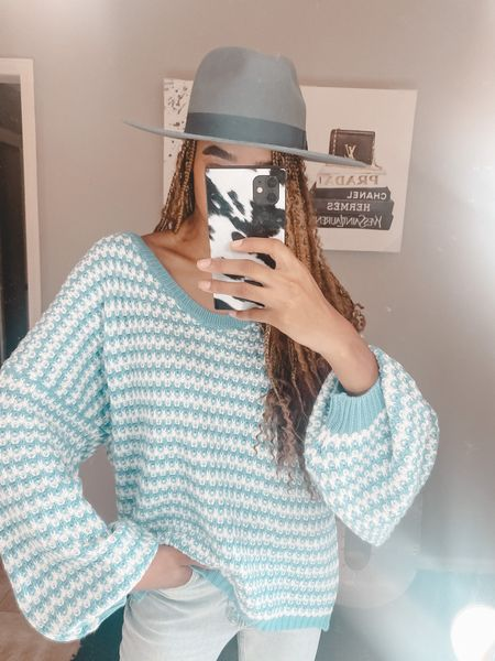 Blue sweater from Shein! Such a cute fall sweater and this blue fedora from Urban Outfitters   #LTKstyletip #LTKsalealert #LTKSeasonal