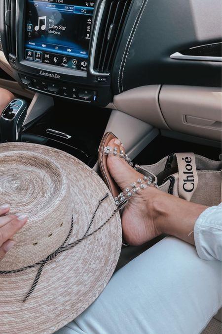 Straw hat, sandals , travel tote , beach essentials, summer hat, beach accessories, embellished sandal, summer sandal, flat sandal   #LTKswim #LTKshoecrush #LTKstyletip
