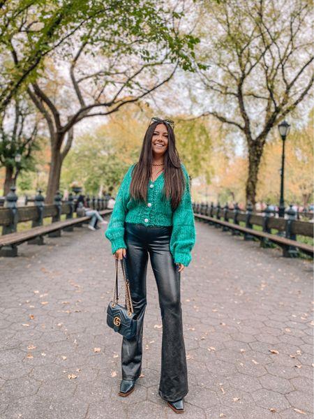 Fall outfits Green cardigan — CAREY40 for 40% off Spanx leather pants — small petite, should have gotten xs petite    #LTKSeasonal #LTKsalealert #LTKunder100