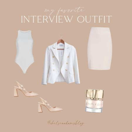Interview outfit Light and bright interview outfit Business professional Business casual work skirt Blush skirt White blazer Bodysuit Pink heels Blush slingbacks Neutral pink nail polish Fall outfit Labor day sale  #LTKunder50 #LTKunder100 #LTKworkwear