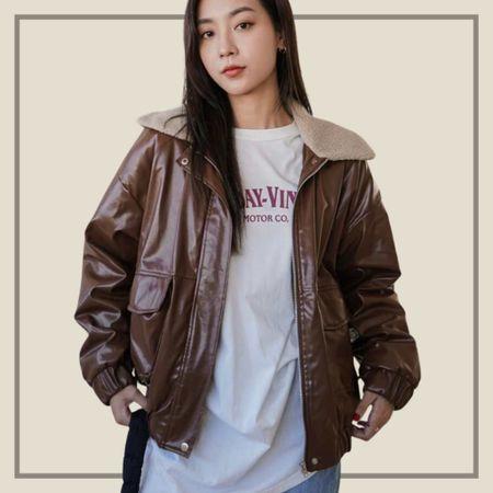 Belted faux leather jacket  #LTKstyletip #LTKunder50