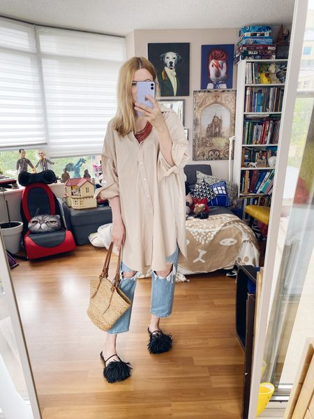 """This is my """"is she wearing pyjamas, or isn't she?"""" outfit. . .  #oversizedShirt #SummerLook #beadNecklace #zaraShoes  #StyleOver40  #levis501  #levis  #StayAtHomeMomStyle  #FashionOver40  #OutfitIdeas #basketBag #summerStyle #MumStyle #OversizedButtonUp #blackSlides  #WhoWhatWearing #Over40Style #40PlusStyle #Stylish40s  #HighStreetFashion #StyleIdeas #DailyOutfit  #LTKunder50 #LTKshoecrush"""