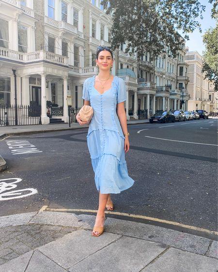 Blue midi dress outfit with nude accessories  @liketoknow.it #liketkit http://liketk.it/3j43g