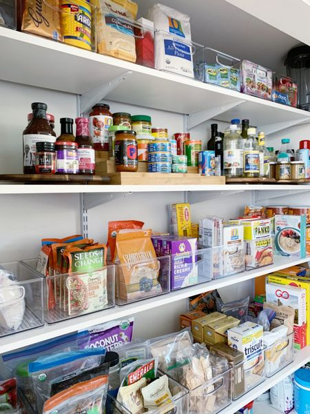 Pantry organization. Another suggestion – while not every pantry requires bins, bins and containers do provide structure and boundaries. || #pantryorganization #pantry #storage #organizatjon   #LTKhome