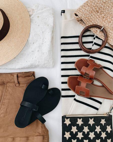 Summer beach days. What to wear to the beach. Beachwear.   Hat - Brixton (old) Shirt - Sezane 4 (old) Shorts - Everlane 0 Sandlas - Madewell 5 (old) Sandlas - Hermès 35  Bag - Kayu (old) Tote - Zara (old) Sweater - State Cashmere small (old)  http://liketk.it/3hSWC #liketkit @liketoknow.it #LTKswim