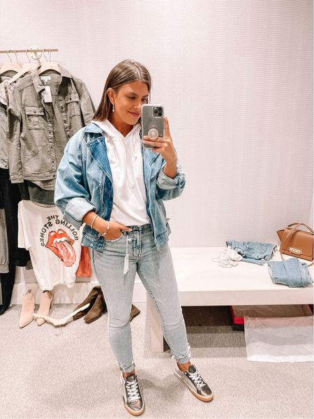 Good American Jeans Boyfriend jean jacket Oversized shorts sleeve hoodie  Under $100 sneakers  #LTKshoecrush #LTKunder100 #LTKstyletip