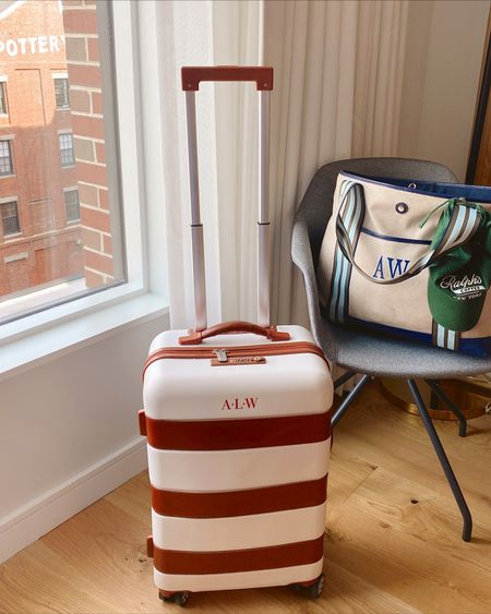 This suitcase is SO cute ❤️ thrilled to be in Portland, Maine for a few days! Linking some cute personalized luggage