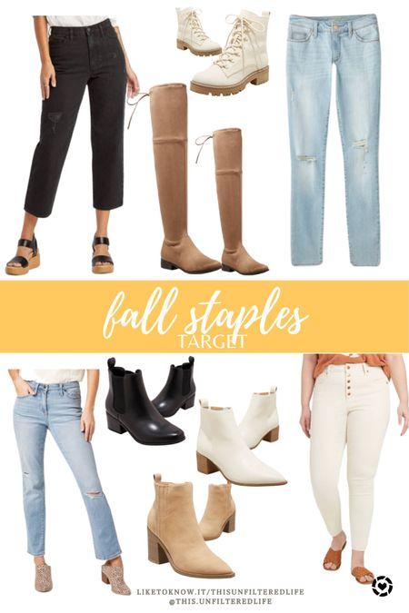 Fall outfit staples from target #falldenim #fallboots #targetstyle   #LTKshoecrush #LTKSeasonal #LTKunder50