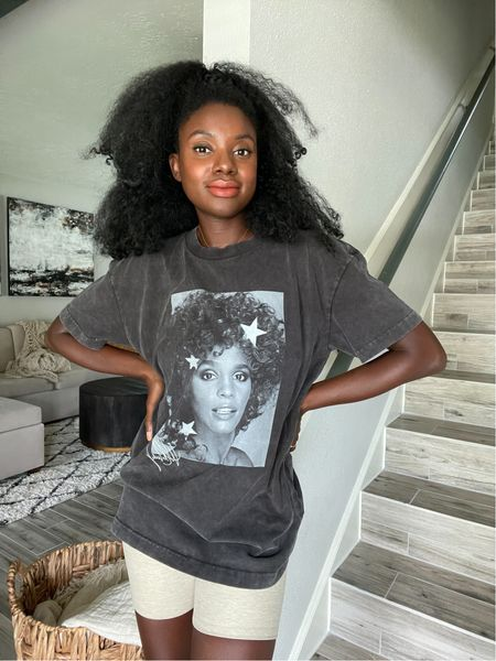 Vintage Whitney Houston Graphic t-shirt, tan biker shorts and orange lipstick called rise.   #LTKstyletip #LTKunder50 #LTKunder100
