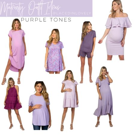 Cute Maternity styles in purple tones! These maternity styles are comfy and great quality. Pink Blush has a discount code at the top of their website that changes daily. Today it is code SWEETDEAL for 30% off dresses. 25% off bottoms, and 20% off tops.  I wear a size medium unless otherwise noted!  #LTKsalealert #LTKstyletip #LTKbump