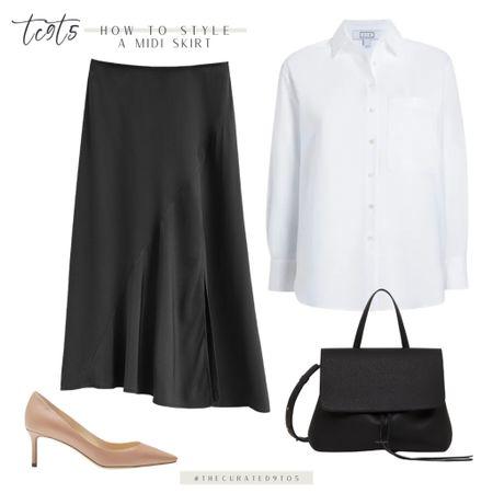 Black midi skirt, white button down, tan pumps, black bag, workwear   #LTKshoecrush #LTKitbag #LTKworkwear