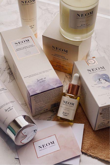 Neom organics, cleanser, candle, sleep candle, night time skincare routine, skincare, skincare routine  #LTKunder50 #LTKbeauty #LTKSeasonal