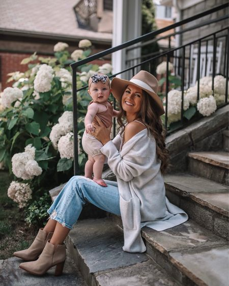 The perfect early fall outfit! 🍁 grey cardigan, white lace cami, Mother denim, mom jeans, distressed jeans, suede booties, wool felt hat, cmcoving, Caitlin Covington, fall fashion, baby girl outfit, baby bow, baby girl fashion  #LTKunder50 #LTKunder100 #LTKbaby
