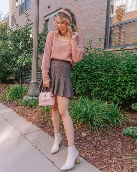 Fall outfits, fall outfit idea, pleated mini skirt, brown plaid skirt, girly fall outfit  #LTKSale #LTKstyletip #LTKunder50