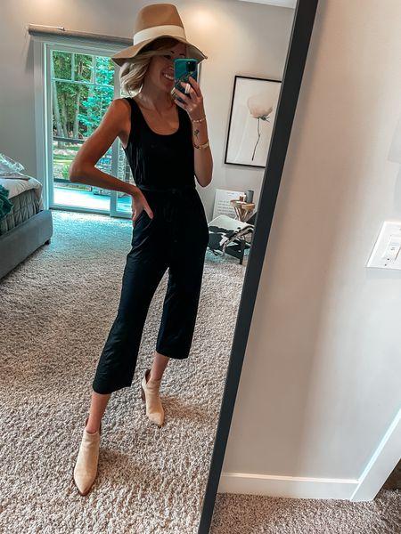 Nordstrom sale outfit Black jumpsuit and suede ankle booties Floppy felt hat for fall Fall style #nsale   #LTKstyletip #LTKsalealert #LTKshoecrush