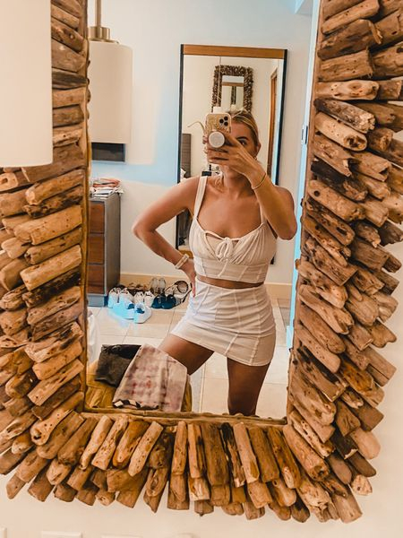 Two piece - crop top - white outfit - mini skirt - white skirt - bodycon skirt - body con skirt - milkmaid top - crop top and matching skirt - summer outfit   #LTKsalealert #LTKtravel #LTKunder50