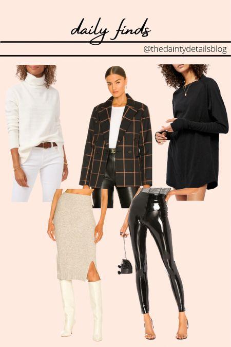 Daily finds: faux leather pants, midi skirt, knit midi skirt, blazer, turtleneck, fall outfits   #LTKstyletip #LTKSeasonal #LTKunder100