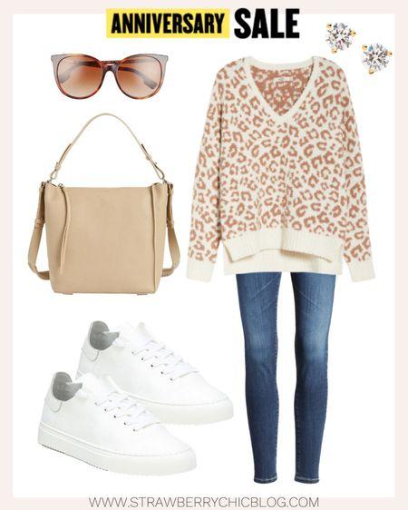Oversized leopard sweater with skinny jeans and white sneakers create a great casual look.   #LTKstyletip #LTKSeasonal #LTKshoecrush