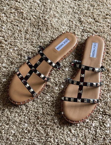 Steve Madden sandals, summer sandals, slides, Valentino inspired, designer inspired  #LTKtravel #LTKunder100 #LTKshoecrush
