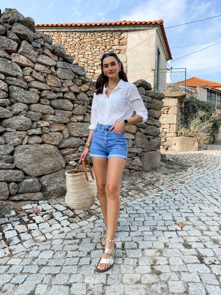 Easy laid back summer outfit. White linen shirt, blue denim shorts   #LTKtravel #LTKstyletip #LTKeurope