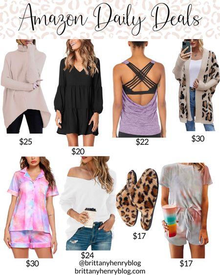 Amazon fashion / amazon daily deals / amazon sale / amazon deals / amazon clothes / workout clothes / workout top / leopard cardigan / black dress / leopard slippers / tie dye pajamas / tie dye pjs / #liketkit @liketoknow.it   #LTKshoecrush #LTKunder50 #LTKsalealert
