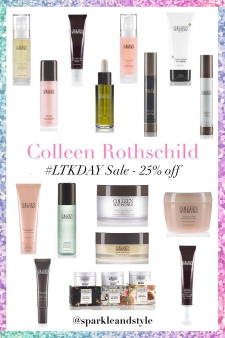 LTK Day Sale: Colleen Rothschild  - 25% off    http://liketk.it/3hqC7 @liketoknow.it #liketkit #LTKDay  #LTKsalealert #LTKbeauty   Toner, moisturizer, face oil, face primer, hair styling cream, body butter, body scrub, eye serum, hair mask, glycolic acid peel pads, cleansing balm