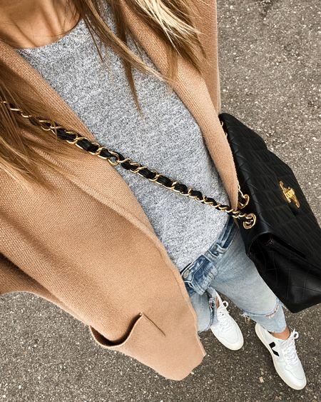 Camel coatigan #veja #sneakers #falloutfits   #LTKunder100 #LTKstyletip #LTKshoecrush