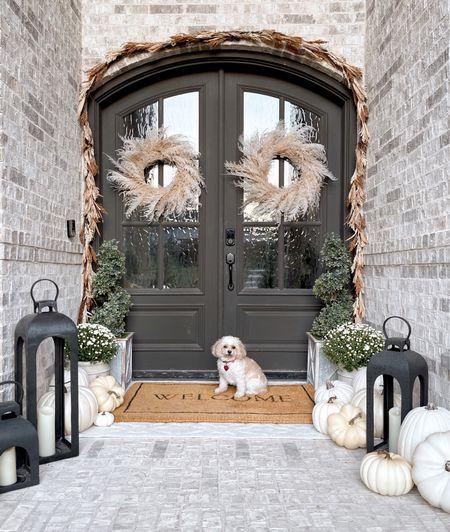 Fall decor front porch, wreath garland lanterns doormat pumpkins spiral topiary planter   #LTKunder100 #LTKSeasonal #LTKhome