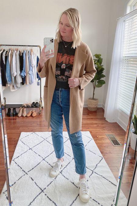 classy yet trendy, J. Crew, coatigan, Juliette Sweater Blazer, Anine Bing, graphic tee, AGOLDE, slim straight jeans, Veja Campo Sneakers  #LTKstyletip#LTKshoecrush#liketkit @liketoknow.it