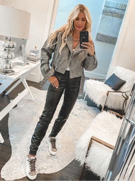 Obsessed with this gray leather jacket part of the #NSALE! It's under $100 and fully stocked. I'm wearing an XS.   #LTKstyletip #LTKshoecrush #LTKunder100