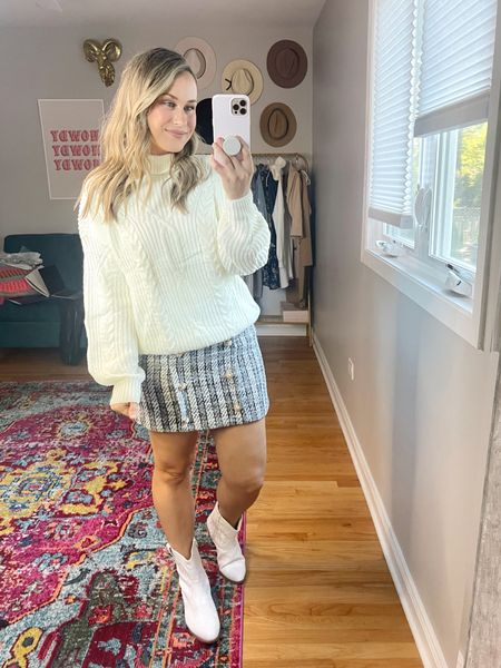 Fall outfits/// tweed skirt is 40% off with code HATONTHEMAP, runs a bit small, size up. Turtleneck sweater and cowboy boots are both amazon finds!   #LTKworkwear #LTKsalealert #LTKshoecrush