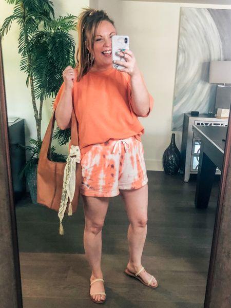 http://liketk.it/3hSN8 #liketkit @liketoknow.it #LTKsalealert #LTKstyletip #LTKunder50 old navy tie dye shorts; pull on shorts, peach top, short sleeve sweatshirt, woven band sandals, lucky brand bag