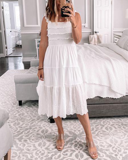 White midi dress. Wearing size 4-6   #LTKunder50 #LTKshoecrush #LTKstyletip