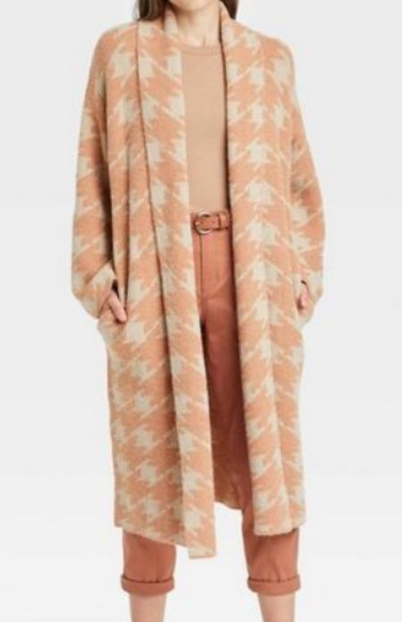 Must-have cardigan. Long cardigan. Long duster sweater. Shacket. Car coat. Houndstooth. Neutral jacket. Sweater cardigan. Fall outfit. Target style. Under $50. Extra 20% off right now.  #LTKstyletip #LTKunder50 #LTKworkwear