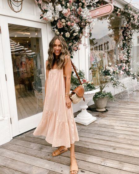 Blush seersucker summer dress (15% off with code JKJULY15) + comfortable slides (15% off with code SHANNON15) for a warm summer evening //   #LTKstyletip
