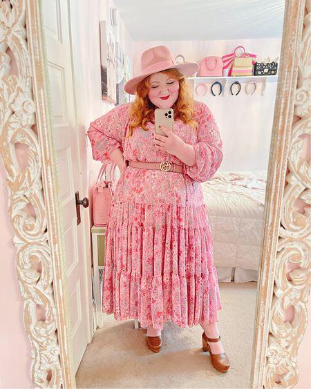 Plus size boho outfit details:  Groovy Maxi Dress from Free People size XL Pink rancher hat Pink Gucci belt Target clogs   http://liketk.it/3gOoD #liketkit @liketoknow.it #LTKcurves #LTKhome #LTKshoecrush