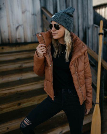 Abercrombie and Fitch vegan leather puffer jacket // size small   #LTKSeasonal #LTKSale