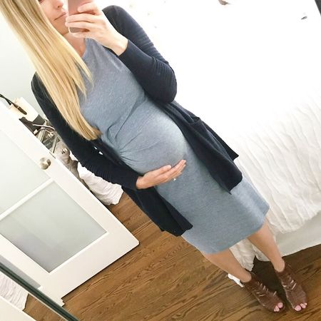 Happy Monday! If you're looking for the perfect stacked heels for spring, these are them 😍😍 They are honestly the most comfortable shoes I've been wearing as of late! 100% a must-have! And I'm so glad I got this non-maternity dress is both grey and blue - love! Details here -> http://liketk.it/2r8MO #liketkit @liketoknow.it #teacherootd #ltkmaternity #teacherstyle #wiw