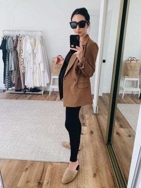 Fall favorites under $200. Camel blazer.   Blazer - Liverpool Los Angeles xs Leggings - Ingrid & Isabel 1 Mules - Marc Fisher 5 on sale! Sunglasses - Quay    #LTKshoecrush #LTKsalealert