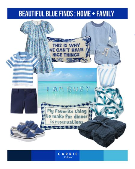 True blues! Loving these blue home decor items and blue kid outfit ideas. Some of these items are even on sale for a limited time, so act fast! #nsale    #LTKbaby #LTKhome #LTKkids