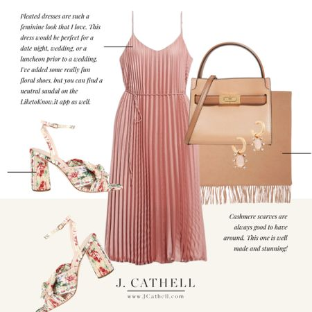 Pink pleated dress, floral wedding shoe, leather handbag, cashmere shawl, earrings  Happy Monday all! I started the week off in meetings looking at what's coming up and I'm planning some really fun things for the fall on the blog. What are some things you'd like to see?  📷: andreascharfflandscape    #LTKwedding #LTKshoecrush #LTKstyletip