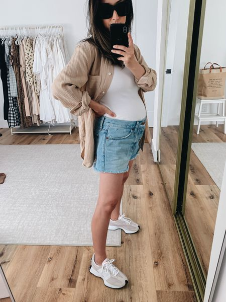 Maternity outfit inspiration. Neutral outfit ideas.   Shirt - J.crew 2 Tank - Michael Stars small Shorts - Madewell 27 (sized 4 sizes for the bump) Sneakers - New Balance 6 (sized up)   #LTKbump #LTKstyletip