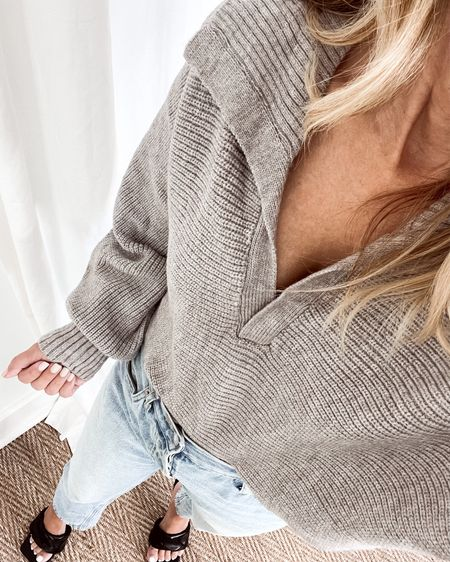 Fall everyday outfit! Cozy Petal + Pup v-neck cropped sweater. Everlane The 90's Cheeky jeans.  Balenciaga dupe mules, Her Fashioned Life   #LTKunder100 #LTKSeasonal #LTKstyletip