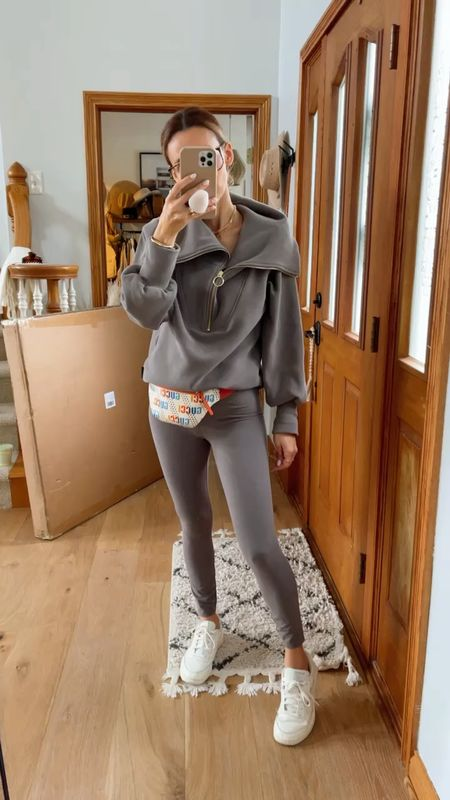 Varley high waisted leggings and half zip up pullover size small on both for comfort - Reebok leather sneakers and Gucci belt bag - cozy fall look, athleisure wear   #LTKstyletip #LTKitbag #LTKSeasonal