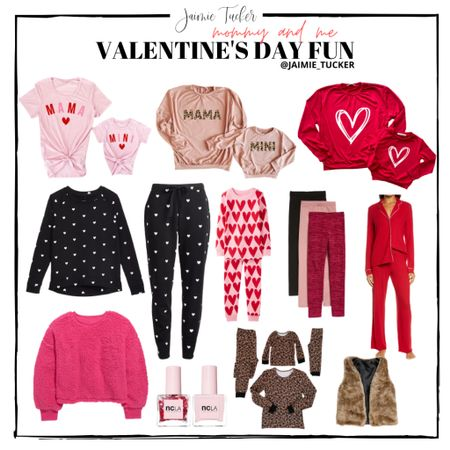 Mommy and Me, Valentines Day, Matching Outfits, Mommy and Me Sets, Mommy and Me Sweaters, Mommy and Me Pajamas, Pink Pajamas, Red Pajamas, Valentines Day at Home, Valentines Day Matching Sets, Valentines Day Kid Outfits, Mommy and Me Heart Pajamas, Heart Pajamas, Matching Pajama Sets, Nail Polish, Valentines Day Fun, Jaimie Tucker  #StayHomeWithLTK #LTKVDay #LTKkids