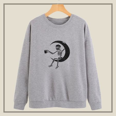 Moon and skeleton print sweater   #LTKunder50 #LTKstyletip #LTKunder100