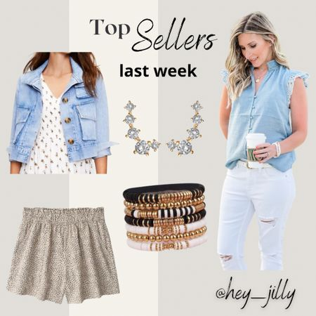 Last week's top sellers linked here: lace sleeve chambray blouse, utility denim jacket, linen shorts, and Amazon find jewelry!    http://liketk.it/3gZiY #LTKsalealert #LTKstyletip #LTKunder50 #liketkit @liketoknow.it