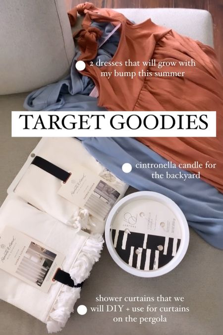 Target 🎯 Goodies! Grabbed some dresses at Target this morning, perfect for a growing bump! A citronella candle for our new patio space and some shower curtains for a DIY that will be coming soon!  #LTKbump #LTKhome #LTKSeasonal
