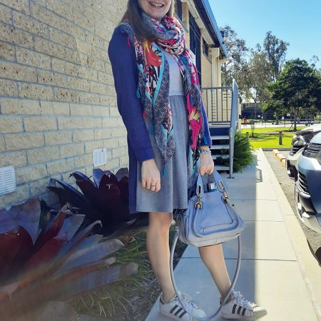 Adding more colour and warmth to this ASOS grey skater dress with the purple cocoon cardigan and the @fashionscarfgirl mixed print tassel scarf 💕💜 And of course the little periwinkle blue Chloe small Paraty bag 💙 The Adidas Superstar sneakers were a practical choice for a busy morning, celebrating under 8s day at the school with a fun day for my eldest and since siblings were invited, the youngest too! Such an exciting day for them and it was so nice seeing them enjoying all the activities!  ------------------   -----------------  ------------ ----------------- -----------  Screenshot this pic to shop the product details from the @liketoknow.it app, or click here: http://liketk.it/3gYrD #liketkit #LTKitbag #chloebag #chloeparaty #everythingLooksBetterWithABag #realeverydaystylepic #everydaystyle #winterstyle #realmumstyle #fashionscarfgirl