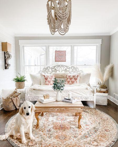 Sitting room decor for Valentine's Day  Round rug Daybed Pampas grass Decor accents Baskets   http://liketk.it/35LdT #liketkit @liketoknow.it @liketoknow.it.home #LTKhome #StayHomeWithLTK #LTKstyletip
